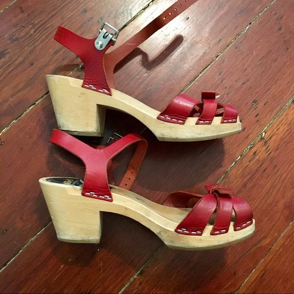 Hasbeens Clogs ShoesRed Swedish Sandals Heel 6 Poshmark Low ZuPkXi